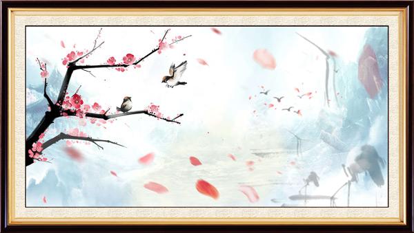 中国风玫瑰花中堂画设计矢量素材下载,CDR14,中国风,中堂画,装饰画,水墨画,山水画,梅花图,小鸟,花瓣,仙鹤,大雁,巨幅画,装饰画,壁画,影壁画,中堂壁画,大厅画,客厅画,古典边框,相框设计,古典壁画,广告设计模板,矢量素材