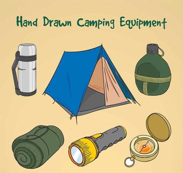 野营装备,手绘矢量图,水杯,保温杯,水壶,帐篷,手电筒,指南针,毯子