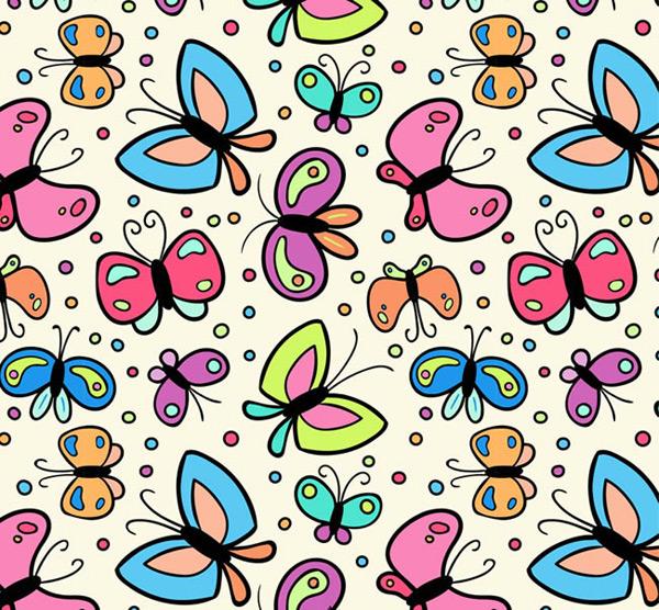 卡通蝴蝶無縫背景