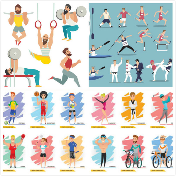 足球篮球与举重等运动人物矢量素材免费下载,矢量素材,矢量图,设计素材,创意设计,体育运动,举重,吊环,跑步,体能,踢球,足球,田径,皮划艇,赛艇,标枪,跨栏,跆拳道,扁平化,女足,足球,篮球,排球,高尔夫,拳击,羽毛球,网球,游泳,骑车,AI
