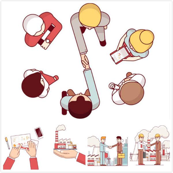 矢量素材,矢量图,创意设计,人物,安全帽,工程师,建筑物,工厂,冒烟