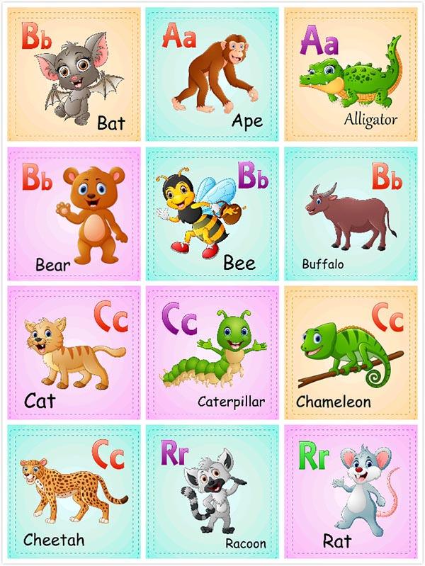 关键词: 儿童英文识字卡片矢量素材,识字卡片,卡通动物形象,英文单词