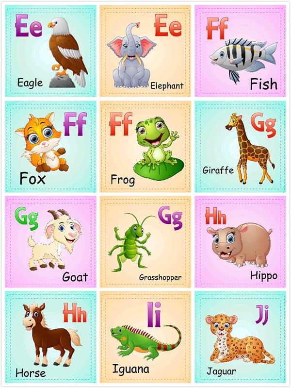 0 点 关键词: 儿童英文识字卡片矢量素材,识字卡片,卡通动物形象