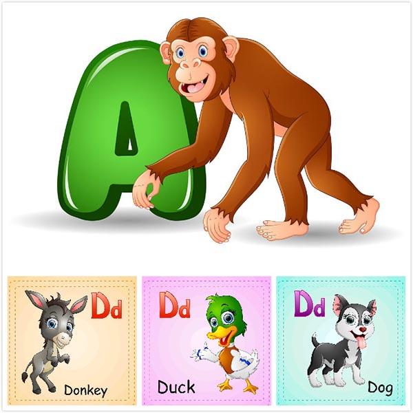 素材分类: 矢量卡通物品所需点数: 0 点 关键词: 儿童英文识字卡片