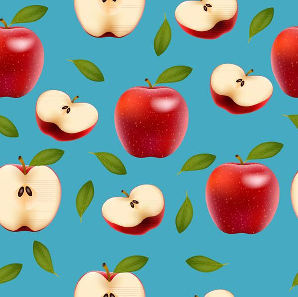 红苹果矢量图,叶子,红苹果,水果,苹果,切面,无缝背景,矢量素材,矢量图