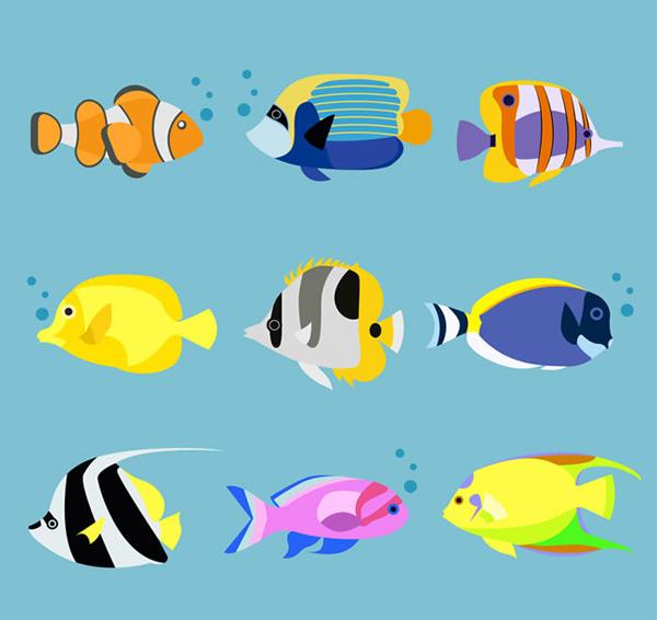 海洋鱼类卡通图片,卡通海洋矢量图,卡通鱼类,卡通动物矢量图,小丑鱼