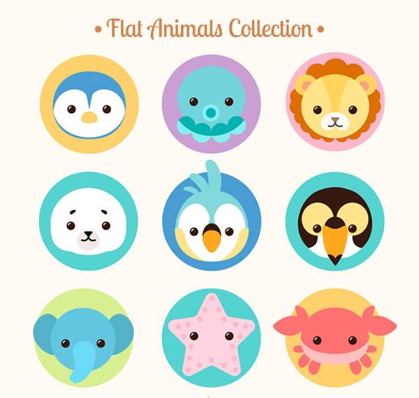 素材分类: 矢量卡通动物所需点数: 0 点 关键词: 可爱圆形动物头像