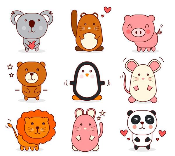 动物矢量图素材,浣熊,鼠,熊,猪,企鹅,老鼠,狮子,熊猫,动物,爱心,矢量
