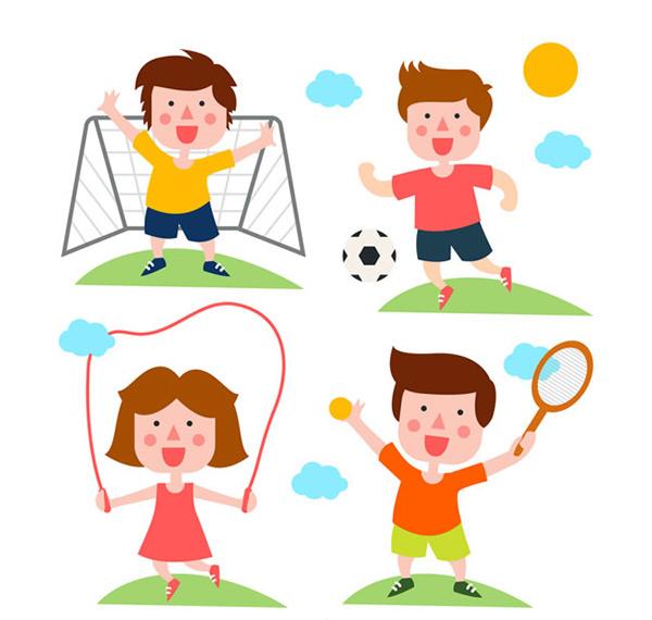 运动的卡通人物矢量素材,卡通人物矢量图,可爱卡通人物矢量图,足球,跳