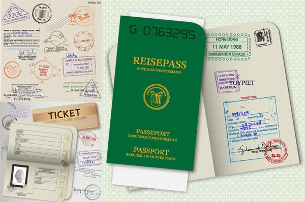护照模板矢量图片