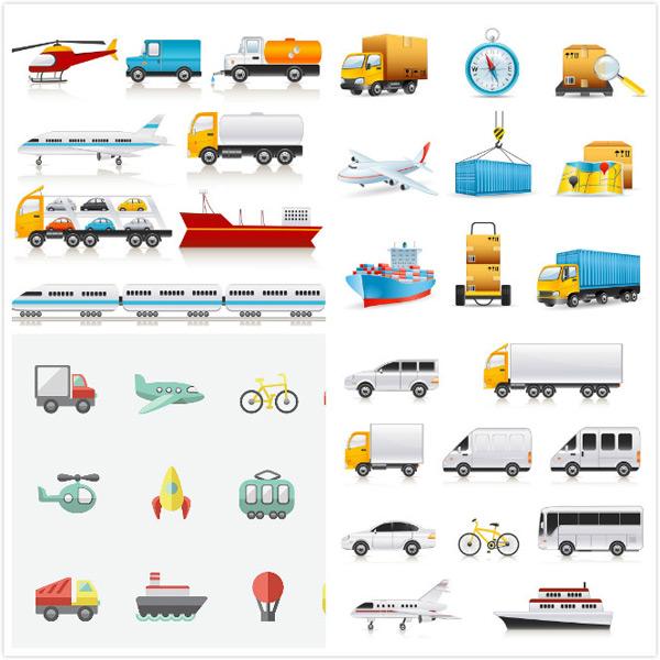 矢量公共汽车,矢量火箭,矢量轮船,矢量热气球,卡通货柜,卡通纸箱,eps