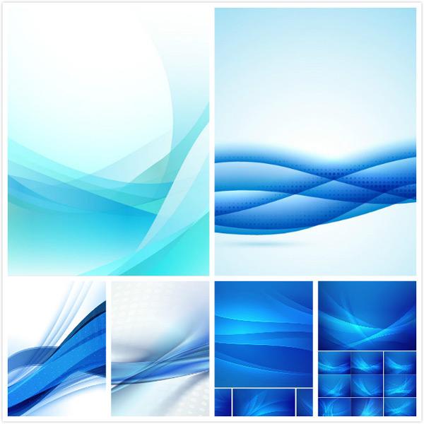 矢量素材,线条素材,色块层叠,波浪曲线,创意背景,蓝色背景,线渐变背景