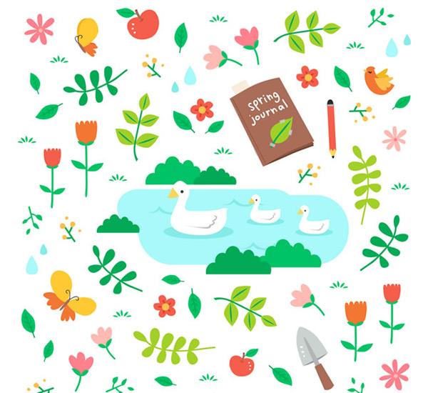 春天动物和花草