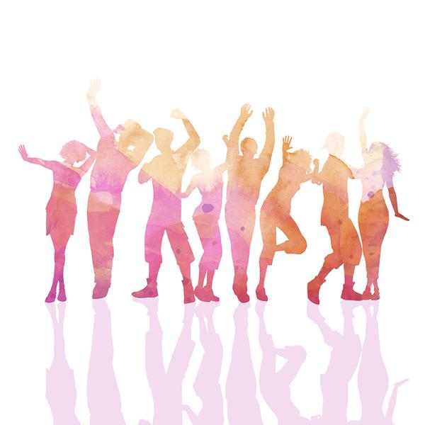 欢呼舞蹈人群剪影图片