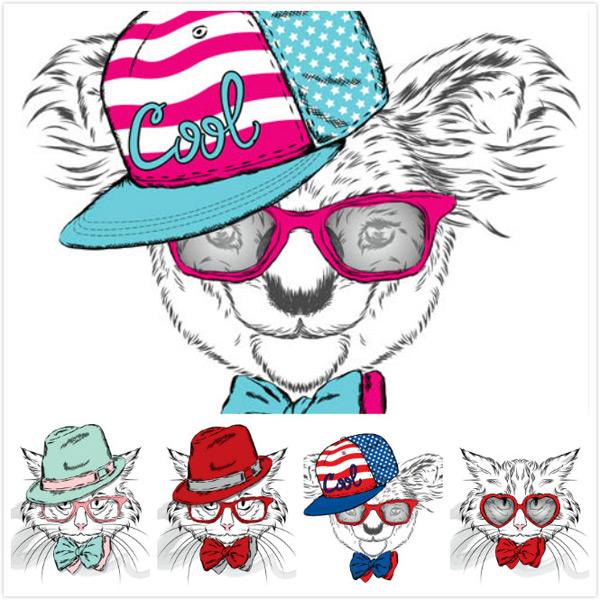 矢量图,设计素材,创意设计,动物,素描,帽子,眼镜,领结,时尚,潮范儿