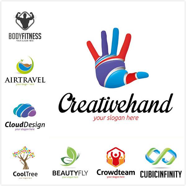 行业标志,logo设计,创意logo,抽象logo,健身中心logo,绿叶形状logo,云
