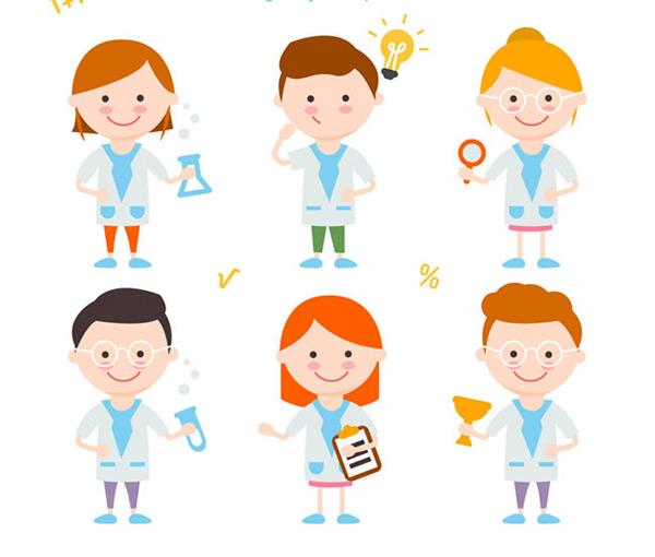 卡通人物矢量图,灯泡,实验器皿,放大镜,试管,记事本,科学,人物,儿童