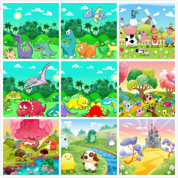 0 点 关键词: 卡通动物风景插画,卡通动物,卡通风景,可爱动物,风景