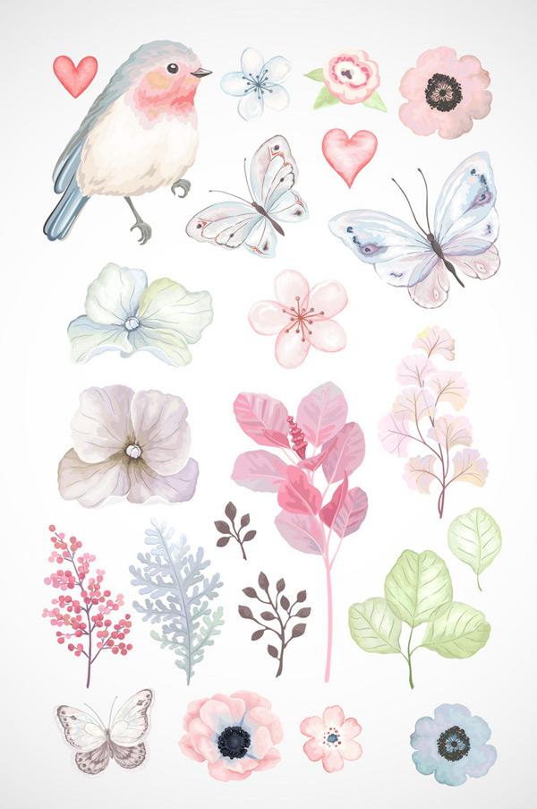 水彩彩绘花朵叶子素材,彩绘,花朵,边框,叶子,卡通手绘,水彩花,花卉,花朵,边框纹理,素材,婚礼,手绘花朵,结婚,爱情,浪漫,水彩,简约,小清新,边框,装饰,底纹,标签,热卖,新品上市,标签素材,矢量元素,AI