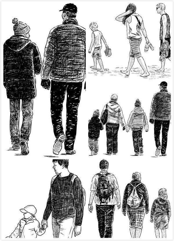 矢量素材,矢量图,设计素材,人物素材,矢量人物,背影,黑白,手绘,素描