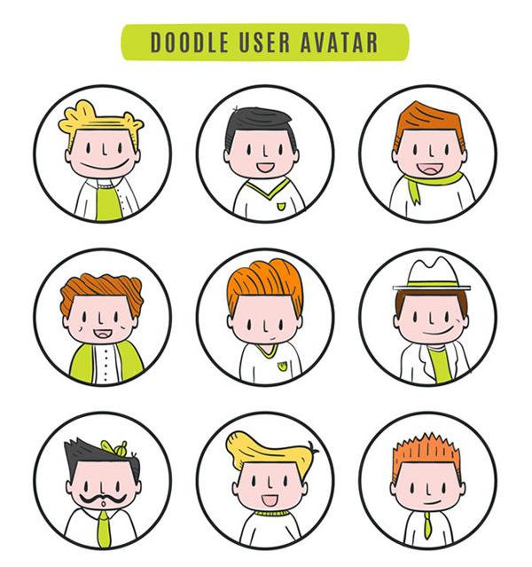 圆形用户头像,男子头像,男生头像,卡通人物,手绘人物,人物,涂鸦,男子