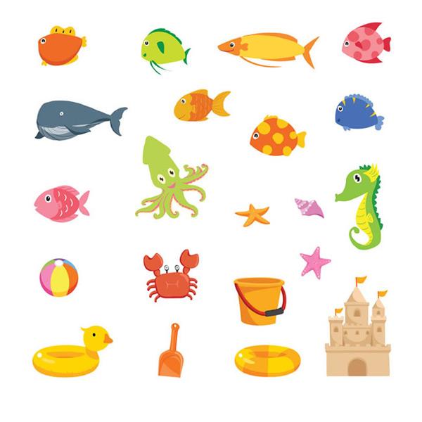 沙滩玩具,海洋生物,沙滩城堡,桶,铲子,救生圈,游泳圈,海螺,海洋,动物