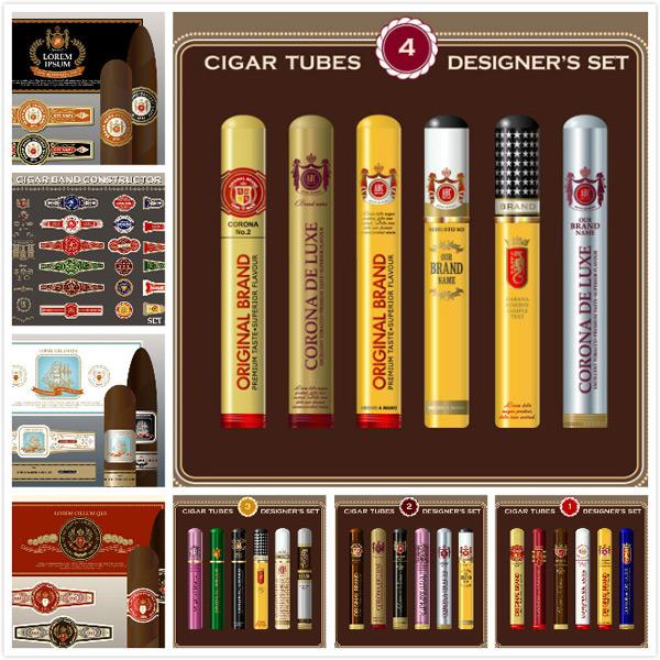 雪茄标签矢量_素材中国sccnn.com
