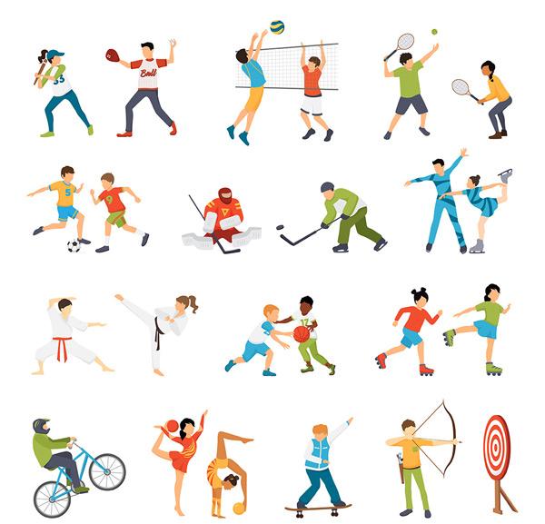 运动图标矢量素材,卡通人物,运动项目,运动会,人物造型,标志矢量素材