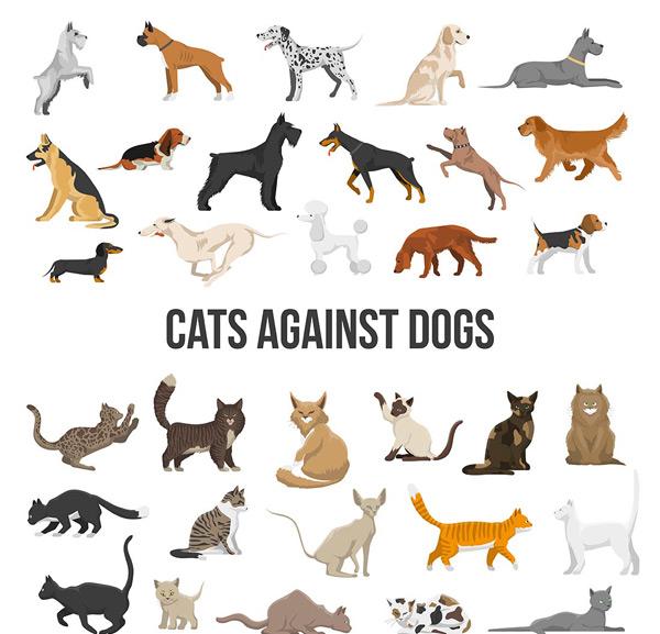 0 点 关键词: 各种猫狗造型图标矢量素材,动物图标,标签,创意设计,猫