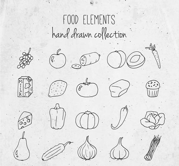 素描矢量图,蔬菜水果,葡萄,苹果,香肠,桃子,胡萝卜,牛奶,柠檬,西红柿
