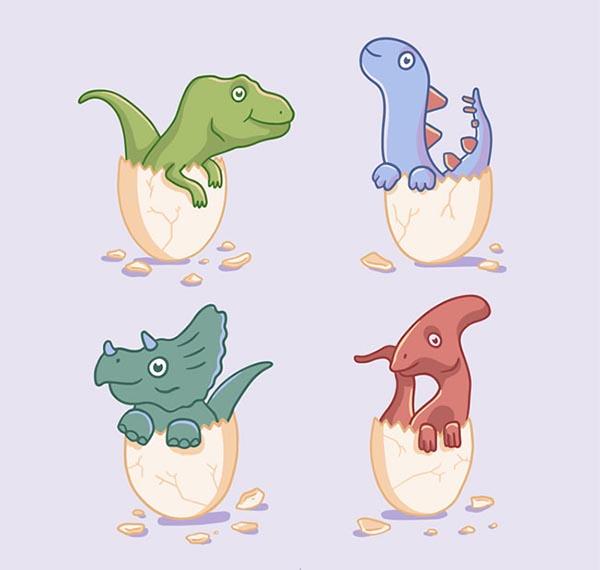 恐龙矢量图,卡通恐龙矢量图,霸王龙,剑龙,三角龙,副栉龙,恐龙蛋,恐龙