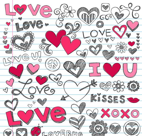手绘英文字母和爱心矢量素材,手绘素材,英文字母,婚庆素材,卡通素材