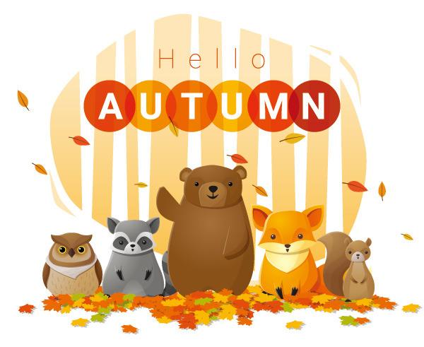 点 关键词: 秋季可爱卡通海报矢量素材,秋季海报,秋天,黄色树叶,动物