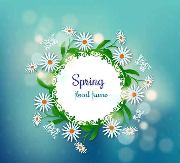 春季白色雏菊边框标签矢量素材,白色雏菊,白色雏菊图片唯美,光晕,蝴蝶,春季,雏菊,边框,标签,矢量图,AI格式