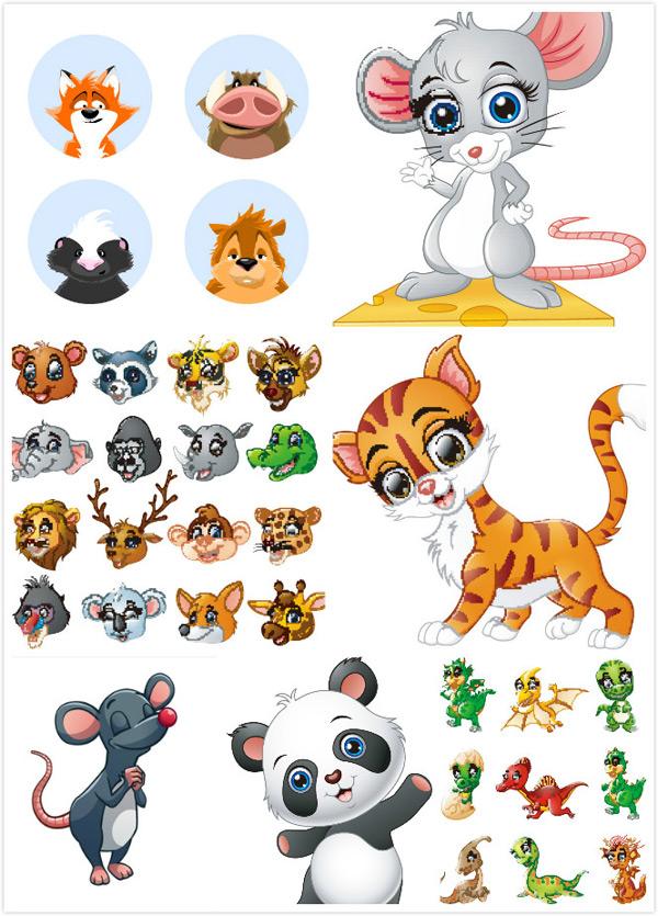 可爱动物,卡通动物素材,漫画,大象,狮子,猎豹,矢量素材,灰色老鼠,狐狸