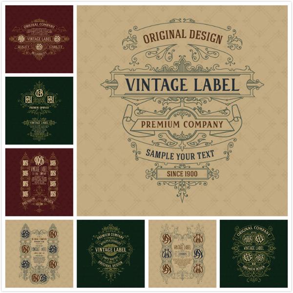 关键词: 欧式花纹标签矢量素材,组合标签,欧式花纹标签,背景素材,复古