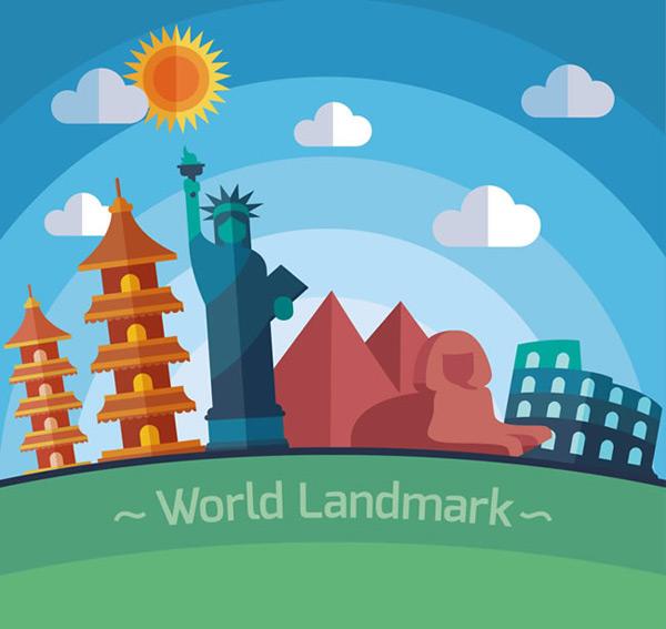 著名地标插画矢量图素材下载,扁平化插画,扁平化风景插画,太阳,云朵