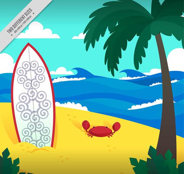 螃蟹矢量图,插画矢量图,海边沙滩矢量图,沙滩,椰子树,大海,冲浪板