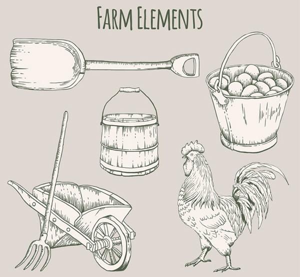 手绘农场元素