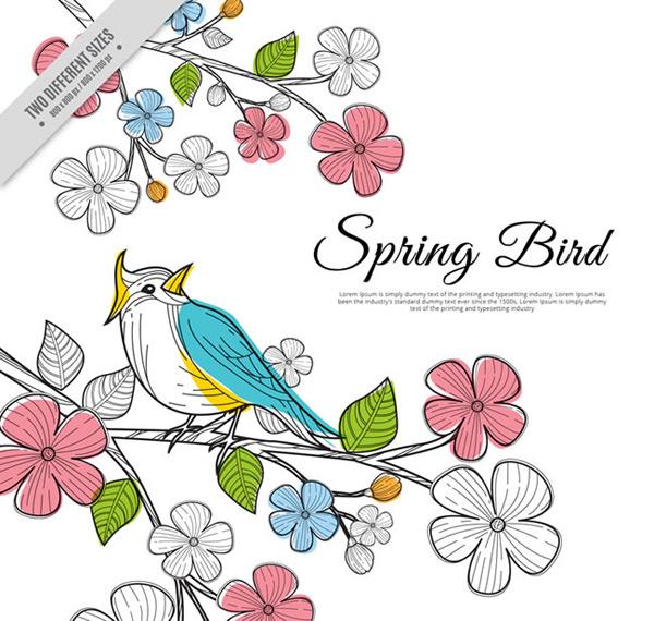 矢量绘画所需点数: 0 点 关键词: 创意春季花枝上的彩色小鸟矢量素材