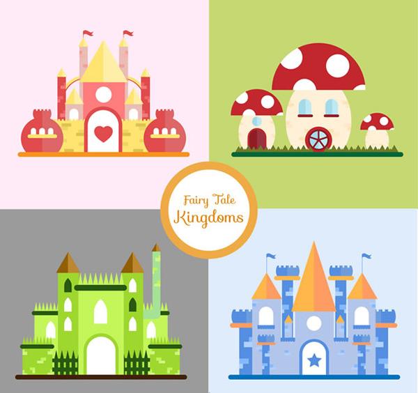童话世界王国城堡矢量素材,城堡矢量图,卡通城堡矢量图,童话世界