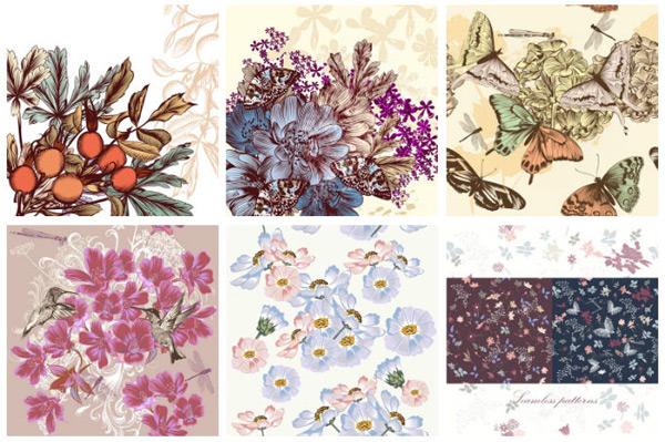 蝴蝶与花鸟图案