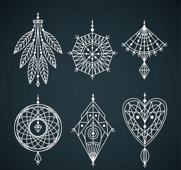 白色花纹吊饰设计矢量素材,花纹吊饰,羽毛,爱心,挂饰,花纹,捕梦网