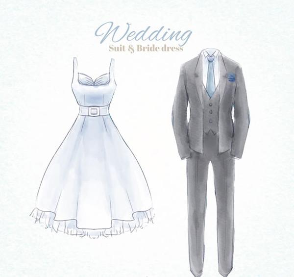 婚纱和灰色礼服