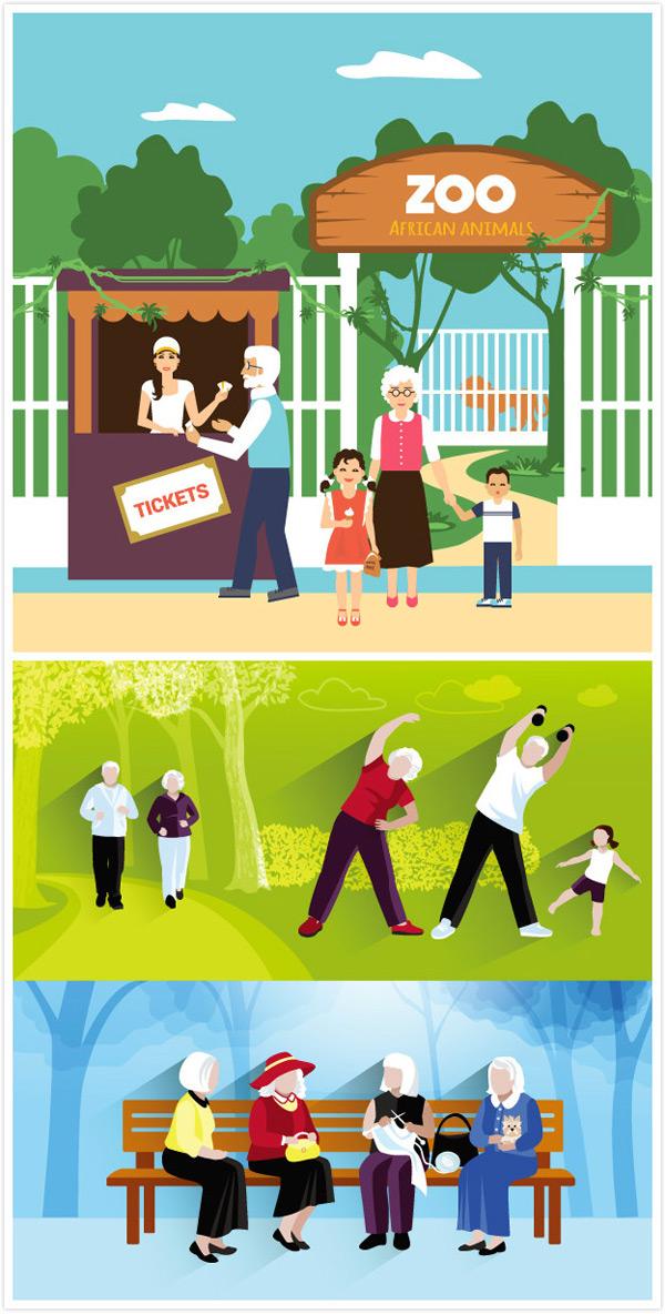 扁平化卡通人物,蓝天,运动,锻炼,白云,绿色树叶,老爷爷,老奶奶,矢量