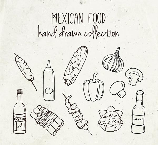 手绘矢量图,番茄酱,柿子椒,蘑菇,洋葱,烤串,面包,辣椒酱,手绘,墨西哥