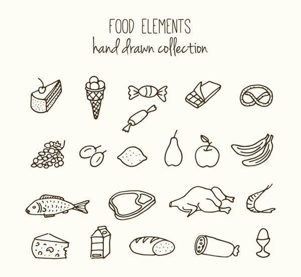 食物矢量图,手绘食物,手绘矢量图,蛋糕,冰淇淋,糖果,巧克力,面包,梨
