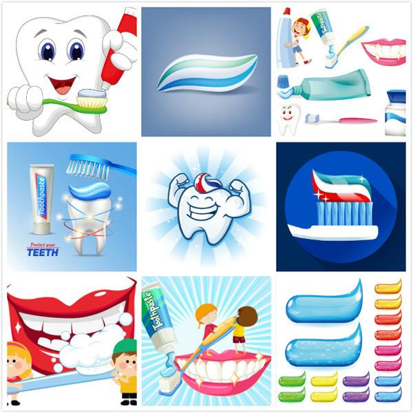 牙膏,牙刷,微笑的牙齿,挤牙膏的牙齿,创意图片,卡通日用品,儿童牙膏