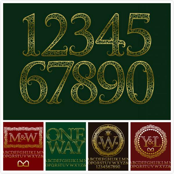 绿色背景,花纹边框,欧式边框,花纹字母,英文字母,金色边框字母,矢量素