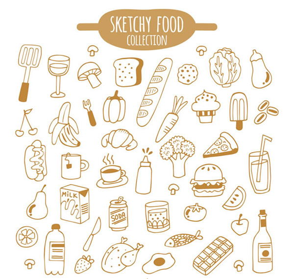 食物矢量图,手绘矢量图,卡通食物矢量图,铲子,香槟酒,蘑菇,面包片